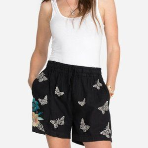 Johnny Was Lome Paper Bag Shorts Black Small